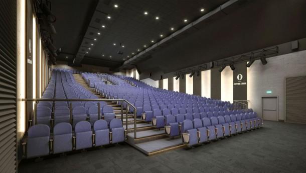 Sala kinowa w Hotelu Ossa z panelami akustycznymi Muraspec